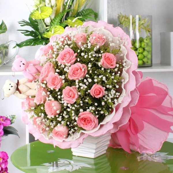 Bouquet – Pink Roses & bears